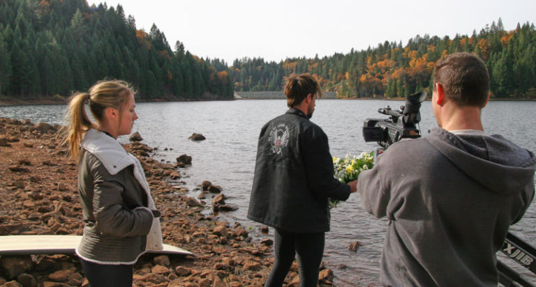 It was a little colder then we wished… DP Bill Otto getting ready to shoot. Sean and Amanda standing in for framing.