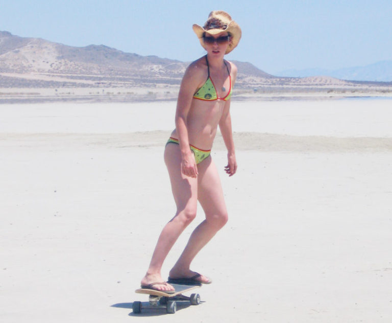 Bikinis on a skateboard, on a dry lake bed… Yeah… it was THAT hot!