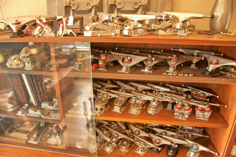 Neil Stratton showed us his collection of Carver trucks prototypes.
