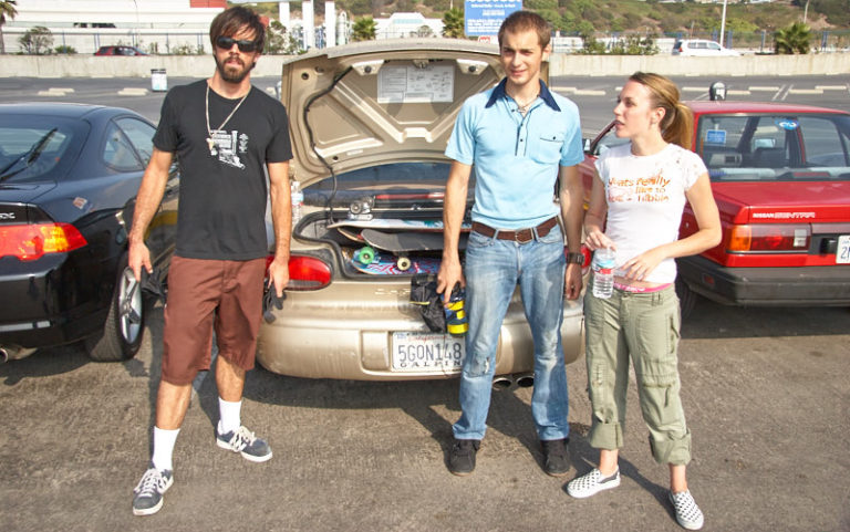 Sean, Mike, and Amanda getting ready for skateboard gear testing.