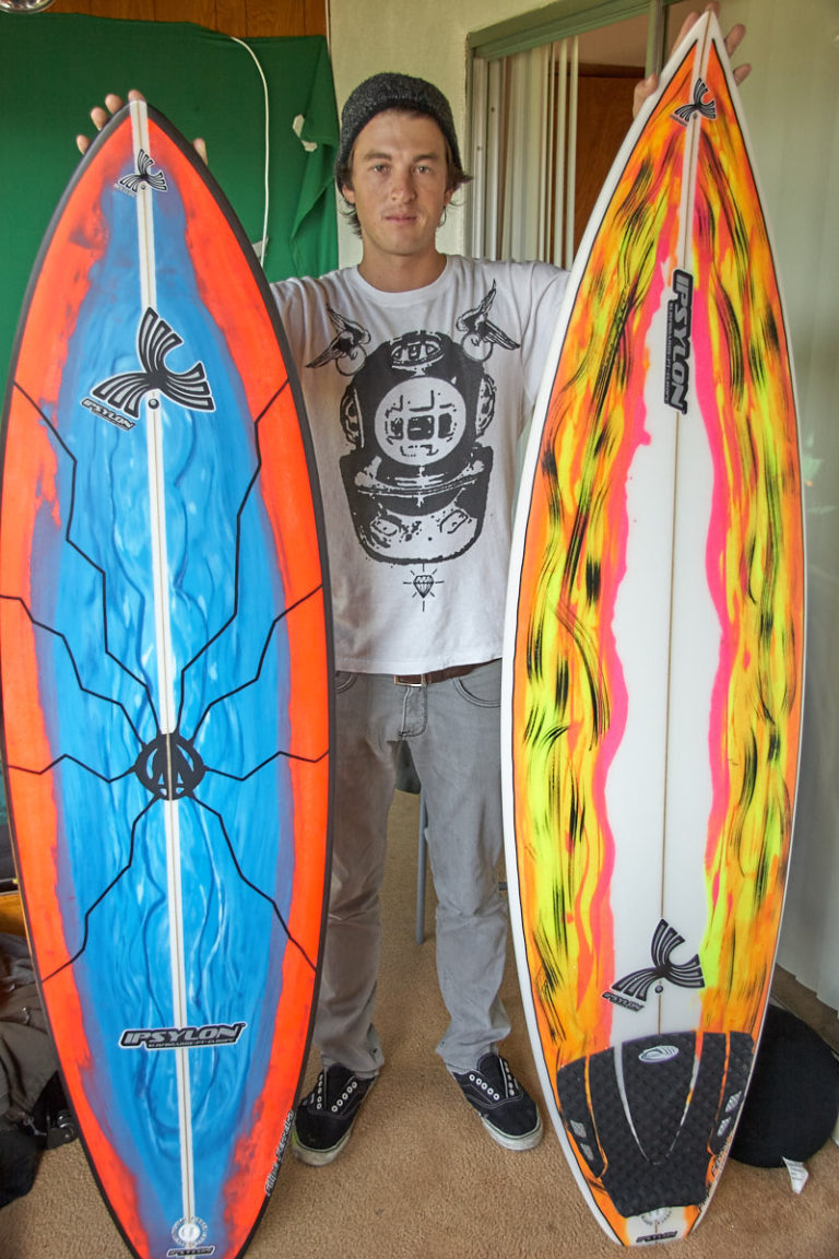 Chris Blasman stoked with his new Ipsylon surfboards.