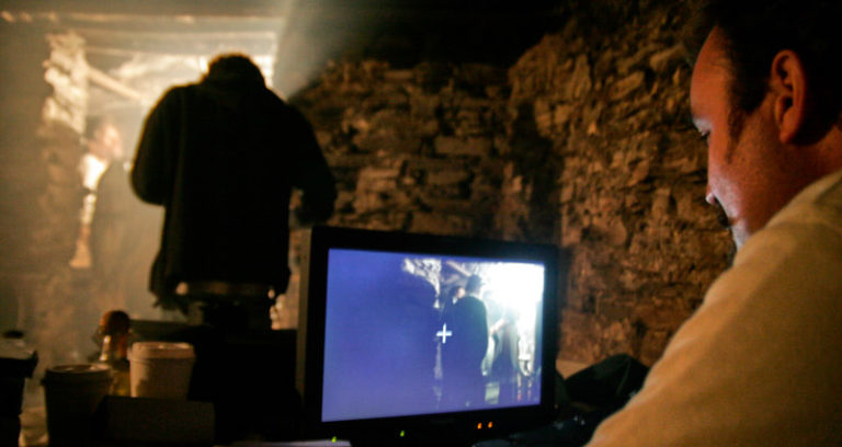 The Director always with eyes on his monitor.
