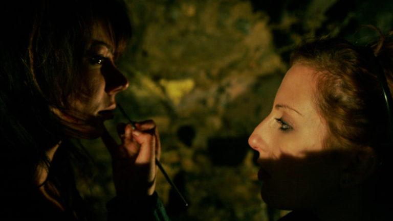 Make-Up Artist Sarah Wolfe, doing her magic.