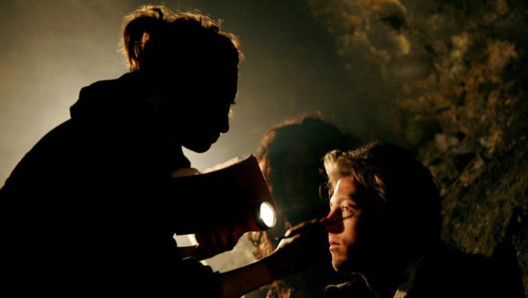 Our Make-Up Artist Sarah Wolfe, having to do her magic under the hardest conditions.