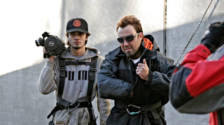 Rafael Serrano 1st AC and the Director getting ready to shoot stunts day.