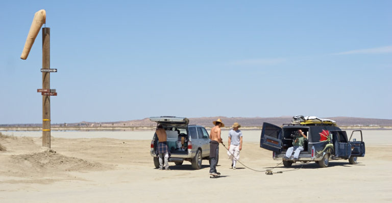 Setting up at El Mirage dry lake bed for one of the most exciting scenes in Road to Red.