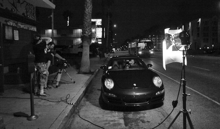 Shooting in the heart of Santa Monica, pretty late at night.